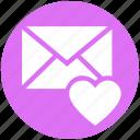 envelope, heart, invitation, invite, letter, message, wedding icon