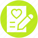 document, heart, list, love, paper, pencil, writing