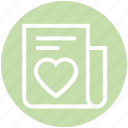 document, heart, list, love, news, paper, valentine icon