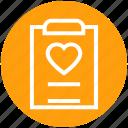 clipboard, document, favorite, heart, list, love, paper icon
