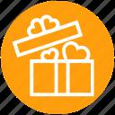 gift, gift box, heart, love, open gift, present, wedding gift icon