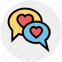 chatting, communication, conversation, heart, love, message, valentine icon