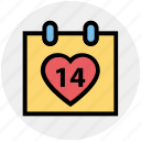 14 february, calendar, date, day, heart, valentine day icon