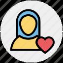 female, girlfriend, heart, in love, love, lover, valentine icon