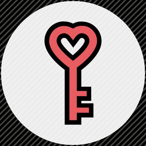 heart, heart key, key, key to heart, lock, love key, security icon