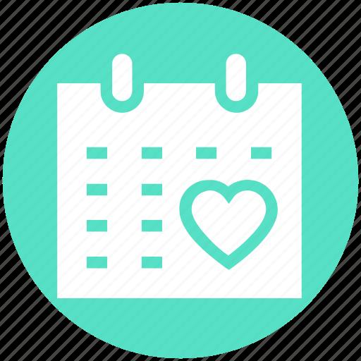 calendar, date, day, heart, love, schedule, valentine day icon