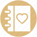 book, content, dairy, heart, love, love story, notebook icon
