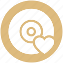cd, disk, dvd, heart, love, romantic music, romantic songs icon
