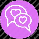 chatting, communication, conversation, heart, love, message, valentine