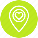heart, location, love, map, map pin, navigation, pointer icon