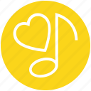 heart, love, music note, musical, quaver, romantic music, romantic song icon