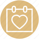 calendar, date, day, heart, love, schedule, valentine day icon