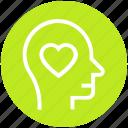 emotion, head, heart, love, loving, mind, thinking icon