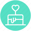 cake, cake with heart, heart, heart shaped, love, valentine, wedding cake icon