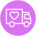 delivery, gift, heart, shipping, transport, truck, valentine icon