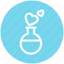 affection, chemical, heart, love, magic, test tube, tube icon