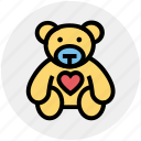 bear, heart, love teddy, soft toy, teddy, teddy bear, teddy with heart icon