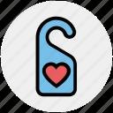 door, hanger, heart, hotel, label, love, tag icon