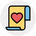 document, favorite, heart, list, love, paper, valentine icon