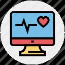 ecg lcd, ecg monitor, ekg, electrocardiogram, heartbeat, heartbeat screen, lcd icon