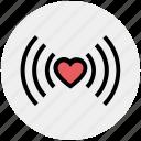 heart signals, heart vibration, heart waves, heart wifi, heart with signals, heartbeat concept, love icon