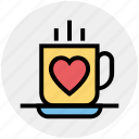 coffee, coffee cup, cup, drinks, heart, hot, tea icon