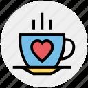coffee, coffee cup, cup, drinks, heart, hot, tea icon