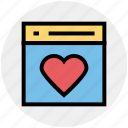 favorite, heart, love, page, web layout, web page, website icon