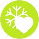 celebration, cold, heart, love, snow, snowflakes, winter icon