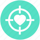 aim, favorite, heart, heart target, romantic, target, valentine icon