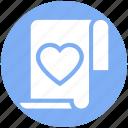 document, favorite, heart, list, love, paper, valentine icon