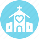 building, chapel, church, church with heart, heart, marriage, wedding icon