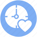 bookmark, clock, heart, love, timepiece, timer, watch icon