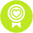 achievement, award badge, badge with heart, heart, heart award, love award, medal icon