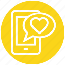 chat, heart, love, message, mobile, talk, valentine icon