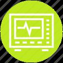 ecg machine, ecg monitor, ekg, electrocardiogram, heartbeat, heartbeat screen, machine icon