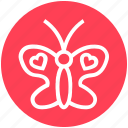 butterfly, greeting, happiness, heart shaped, heart wings, love sign bird icon