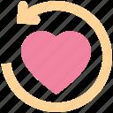 arrow, heart, like, love, refresh, sync, upload icon