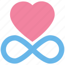 eternal, favorite, heart, infinity, limitless, love, passion icon