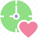 bookmark, clock, favorites, heart, like, love, timepiece, timer, watch icon