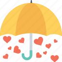 heart, in love, love care, protection, umbrella icon