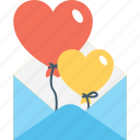 balloons, greeting, inspiration, love, love message icon
