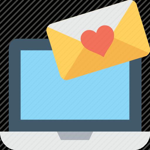 envelope, heart, laptop, love letter, love message icon