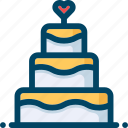 cake, food, heart, love, sweet, wedding icon