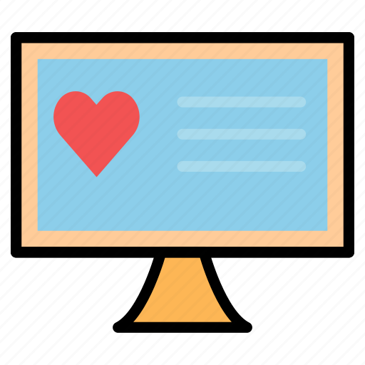 app, chat, display, heart, love, monitor, valentine icon