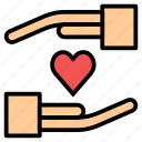business, hand, insurance, love, valentine icon