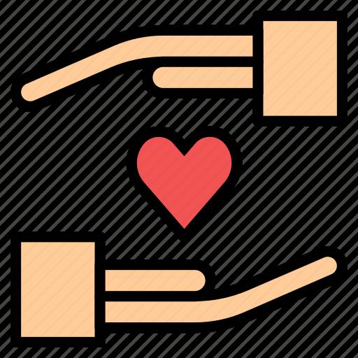 business, hand, insurance, love, valentine icon