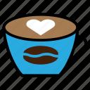 heart, coffee, cappuccino, liquid, restaurant, tea, beverage