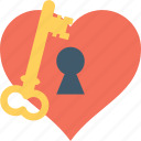 heart, heart lock, key, keyhole, unlock icon