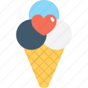 cone, heart, ice cone, ice cream, snow cone icon